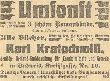 """Tady se v inzerátu budějovického listu """"Der Dorfbote"""" píše už v roce 1911 Kratochwill"""