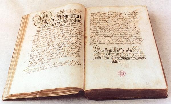 """Řád literátského bratrstva českobudějovického z roku 1610 píše jméno města """"Behaimisch Budweiß"""""""