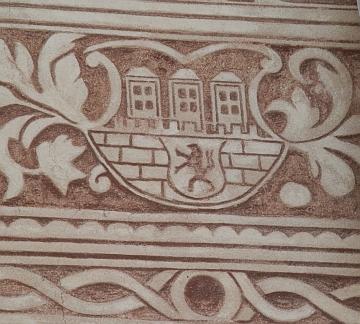 Jedno z nejstarších zobrazení znaku na domě na rohu Kněžské a Kanovnické ulice
