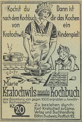 ... a veršovaný inzerát její kuchařské knihy z jejich českobudějovického nakladatelství