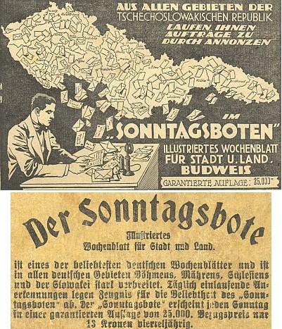 Inzerce jeho listu Sonntagsbote