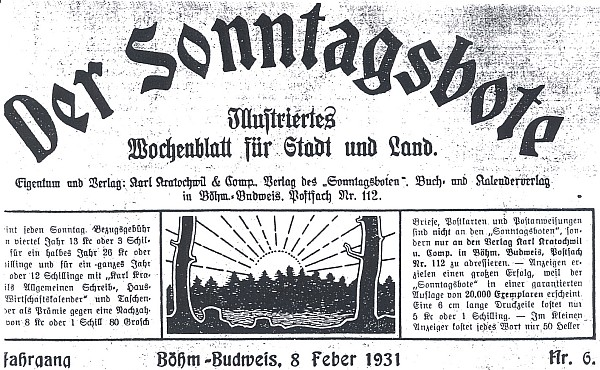 """Záhlaví jednoho z čísel českobudějovického """"nedělníku"""" z roku 1931"""