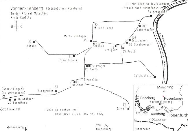 Plánek Předních Loučovic se zakreslením buquoyské hraběcí lesovny, tj. bydliště Krauskopfových, v pravém horním rohu