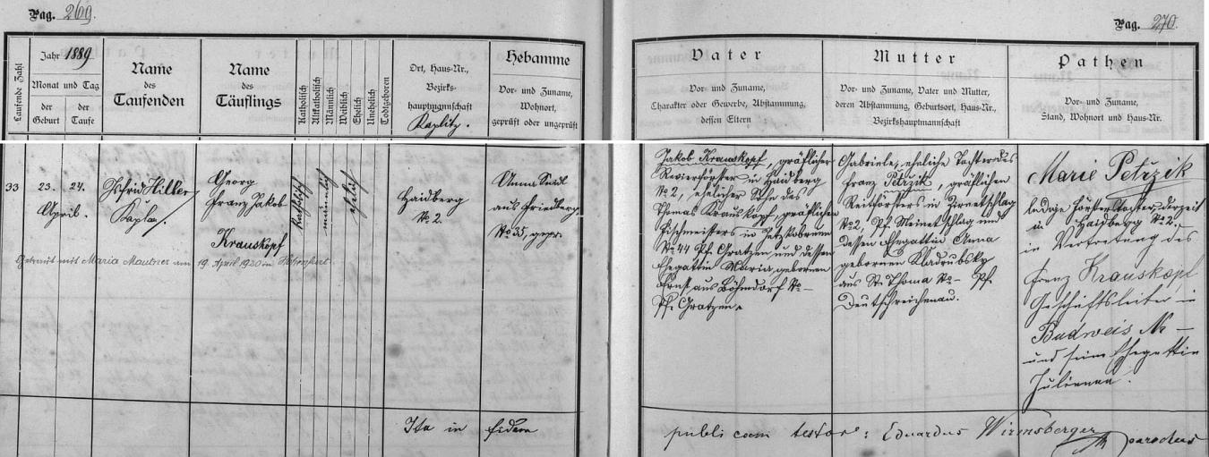 Záznam o jeho narození a křtu s přípisem o pozdější jeho vyšebrodské svatbě v matrice farní obce Frymburk