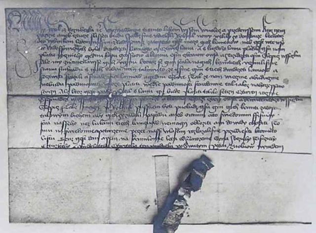 Černobílý snímek listiny Voka II. z Rožmberka o rybníce Dehtář v radošovické kronice