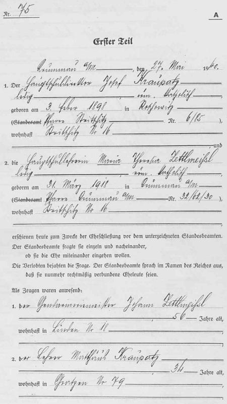 """Záznam stavovské matriky o jeho svatbě v """"Krummau and der Moldau"""" 27. května roku 1940"""