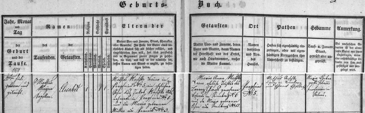 Záznam želnavské křestní matriky o matčině narození v Bělé čp. 5