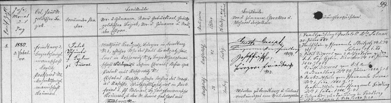 Záznam frymburské oddací matriky o otcově první svatbě dne 3. února roku 1880 ve zdejším kostele sv. Bartoloměje - dvaačtyřicetiletý ženich Matthäus Kraupatz, měšťan ve Frymburku čp. 3, narozený v Radošovicích (Roschowitz) čp.9 dne 7. září roku 1837, byl synem zednického mistra v Radošovicích Paula Kraupatze a Sofie, roz. Pátekové, selské dcery z Radošovic čp. 1, osmadvacetiletá nevěsta Elisabeth, narozená v Bělé (Parkfried) čp. 5 dne 20. července 1851, byla dcerou majitele hospodářství v Bělé čp. 5 Mathiase Raschko a Anna, roz. Haasové ze Slunečné (Sonnberg)