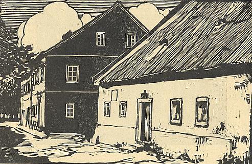 Rodný dům hudebního skladatele Simona Sechtera ve Frymburku na Kraupatzově dřevorytu