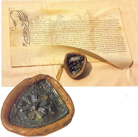 Listina z 26. června 1521, opatřená pečetí městečka Frymburka a uchovávaná ve fondu Státního okresního archivu v Českém Krumlově, kterou mlynář Michal Lang s manželkou Dororou prodávají svůj mlýn pod Frymburkem faráři Zikmundovi ve Schläglu