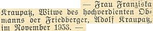 Zpráva o úmrtí jeho ženy Franzisky čtyři roky po něm v listopadu 1953 ve Vídni