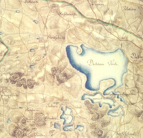 Rybník Dehtář s okolím, zachycený vojenským mapováním z let 1764-1783 (viz www stránky Laboratoře geoinformatiky Fakulty životního prostředí UJEP)