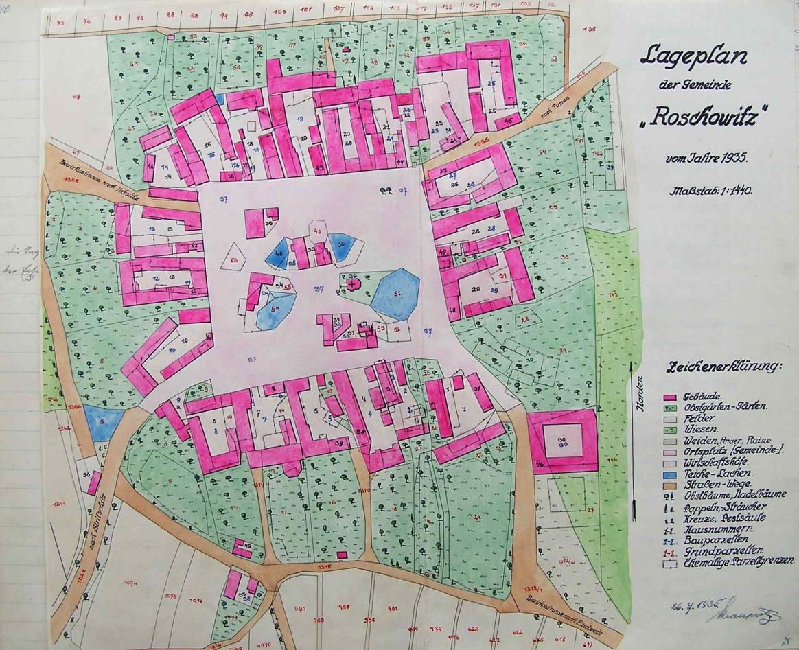 """Mapka rodných Radošovic, kterou kreslil také bratr Josef a na které je zachyceno i stavení čp. 20, zvané """"Woratschka"""""""