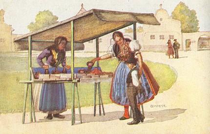 Tři pohlednice G. Moesta se selskými motivy z německého jazykového ostrova     u Českých Budějovic ze sbírky Reinholda Finka
