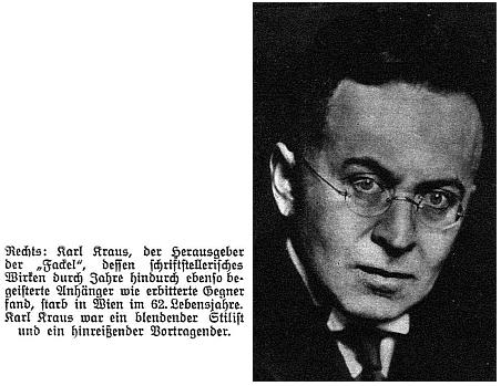 """Snímek se zprávou o úmrtí ve vídeňském ilustrovaném týdeníku, kde je označen jako """"oslnivý stylista a strhující řečník"""""""