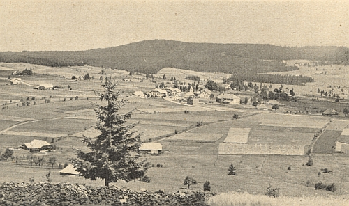 """Na staré pohlednici s někdejším Kaltenbachem je """"Stoaberg"""" ten malý proužek za ním pod horou Výška (Höher Berg)"""