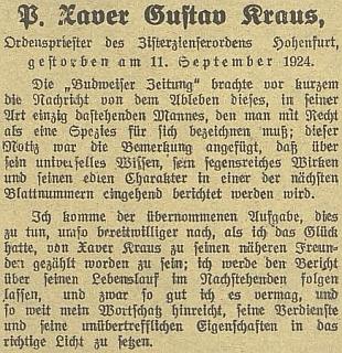 Úvod Fiedlerova nekrologu, který slibuje  další reference ozemřelém