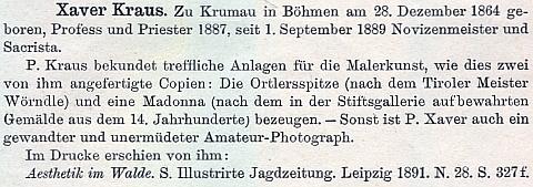 """Raphael Pavel tu zmiňuje i jeho malířské kopie, amatérské fotografování a text o """"estetice v lese"""", nesprávně však uvádí jako jeho rodiště Český Krumlov"""