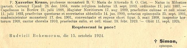 Zpráva o jeho úmrtí v diecézním biskupském věstníku