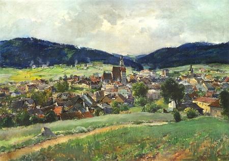 Prachatice na obraze českého malíře Oldřicha Blažíčka z roku 1917, kdy padl Kreiplův otec na haličské frontě