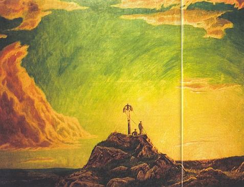 """""""Východ slunce na Roklanu"""" nazval malíř Reinhold Koeppel svou olejomalbu z roku 1910, vytvořenou tedy 5 let poté, co byl na horském vrcholu vztyčen kříž - sám obraz má rozměry 130x115 cm"""