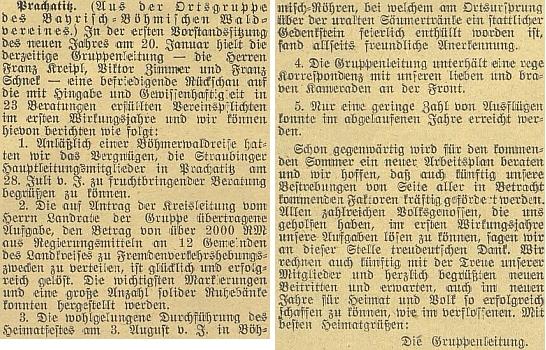 """Zpráva budějovického německého listu z ledna 1942 o činnosti prachatické místní skupiny sdružení """"Bayrisch-Böhmischer Waldverein"""", kterou tehdy spoluvedl"""