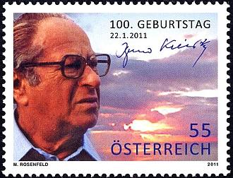 Rakouská poštovní známka ke 100. výročí jeho narození