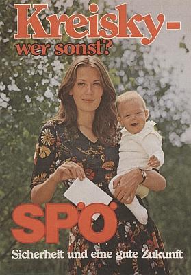 """Volební plakát z roku 1975 s heslem """"Kreisky - kdo jinak?"""""""