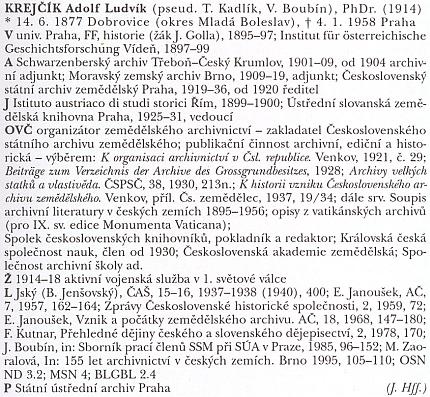 Heslo ve slovníku archivářů českých zemí