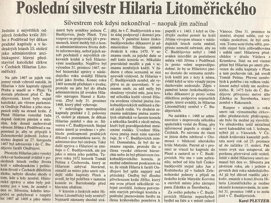 Článek Karla Pletzera končí ujištěním o českobudějovickém úmrtí Hilaria Litoměřického