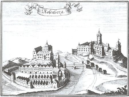 Hrad Rožmberk nad Vltavou, který chtěl Janu z Rožmberka pomoci vrátit Jiří z Poděbrad za jeho vstřícnost k němu, zde však až na vedutě z 18. století