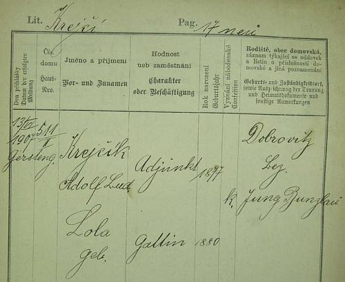 Jeho pražská policejní přihláška