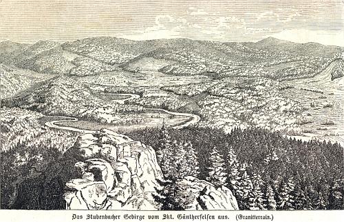 """K Heroldově ilustraci, zachycující výhled z Vintířových skal na """"Prášilské pohoří"""", Krejčí v závorce poznamenal: (Granitterrain.)"""