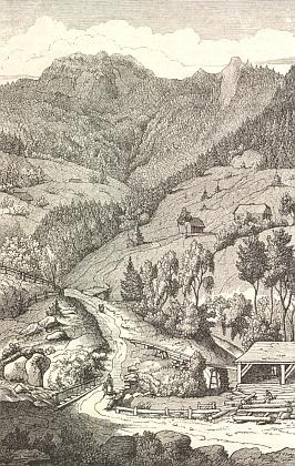 Další z Heroldových ilustrací zachycuje Velký a Malý Ostrý, v lidové češtině Prsa Matky Boží