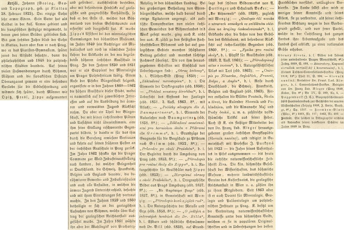 Jeho heslo ve Wurzbachově Biografickém lexikonu císařství Rakouského (1865)