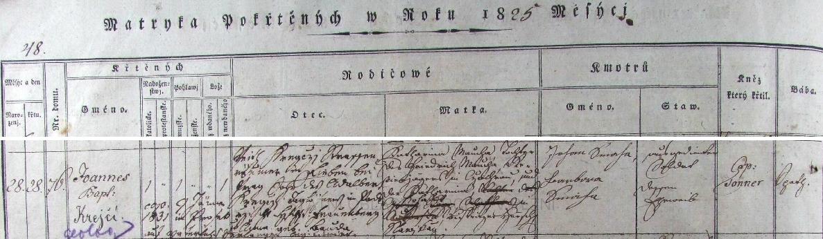 """Podle tohoto německy psaného záznamu v klatovské křestní matrice se narodil 28. února roku 1825 v domě čp. 76 na Vídeňském předměstí (téhož dne byl i pokřtěn jménem Johann Baptist, tj. Jan Křtitel) jako nemanželské dítě Kathariny Mouchové, dcery revírníka v Čachrově Friedricha Mauchy a jeho ženy Kathariny, pocházející z města Leschnitz (dnes Leśnica), panství Slawikau (dnes Slawikow) v tehdy pruském, dnes polském Slezsku - otec Fritz Kreyczi, tehdy """"Straßenräumer"""", tj. dlaždič a metař v Libni, syn Adalberta Kreycziho, nádeníka v Podeřišti, panství Hluboká nad Vltavou, a Anny, roz. Boudové, legitimizoval už šestiletého chlapce na vlastní své přání (auf väterliches Verlangen) svatbou s jeho matkou dne 7. ledna 1831 v Proseku"""