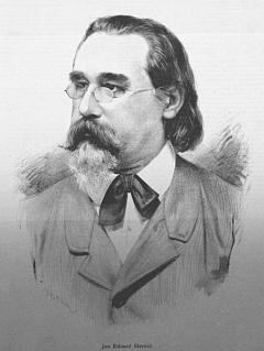 Eduard Herold (zde na podobizně zVilímkových Humoristických listů) své vlastní knihy psal sice česky, narodil se však v Praze chudému herci tamního německého divadla Johannu Christianu Heroldovi