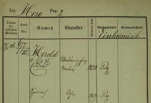 Pražská policejní přihláška Eduarda Herolda i s datem jeho úmrtí a jménem synovým je psána německy