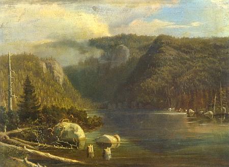 Eduard Herold (1820-1895) je i autorem olejomalby Černé jezero, vzniklé někdy kolem roku 1860, kdy vyšla šumavská monografie Wenziga a Krejčího