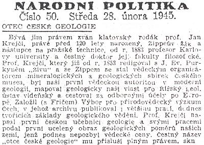 Noticka listu Národní politika ke 120. výročí jeho narození vúnoru 1945