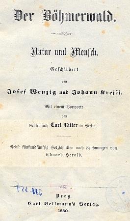 Titulní list (1860) i jeho knihy s předmluvou Carla Rittera a skvělými ilustracemi Eduarda Herolda ... a záhlaví oddílu, který napsal on (viz i Josef Wenzig)