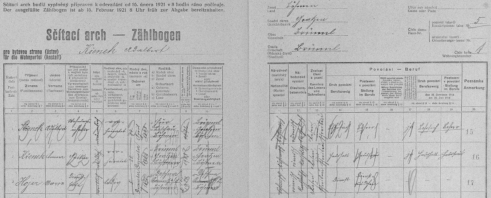 Arch sčítání lidu z roku 1921 pro dům čp. 5 v Dobré Vodě u Nových Hradů