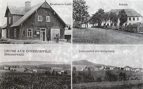 Jedna ze starých pohlednic Horské Kvildy při jeho článku v krajanském sborníku