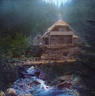 Kolorovaná pohlednice Turnerovy chaty ze dvacátých let 20. století