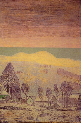 Krajina s Roklanem na barevném dřevorytu Josefa Váchala ze sbírek Muzea Šumavy vKašperských Horách