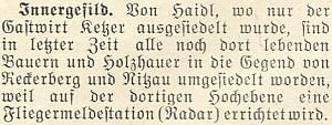 V roce 1952 bylo podle této zprávy vlednovém čísle krajanského měsíčníku zroku 1953 Zhůří vysídleno a na horské pláni byl instalován radar (to slovo bylo tehdy stále poměrně nové, zrozené nedávnou válkou, v té době znovu hrozící)
