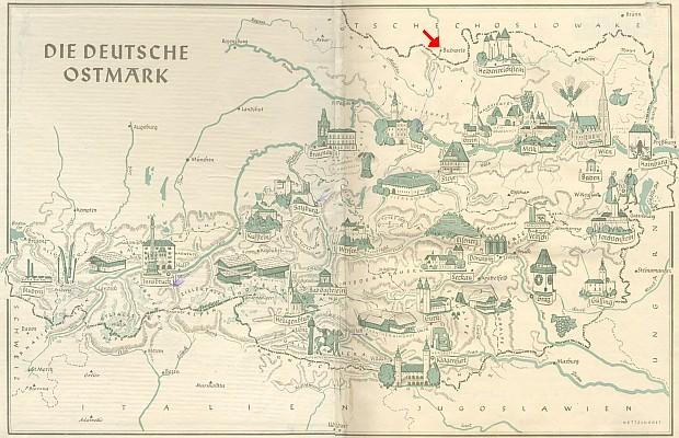 """Mapa """"Německé Ostmarky"""", jak se nazývalo Rakousko po anšlusu, je na předsádce jeho knihy Salzburg und Oberdonauland zakreslena s Budějovicemi ležícími dosud v """"Česko-Slovensku"""" okleštěném už pomnichovským záborem, tj. ještě před 15. březnem 1939"""