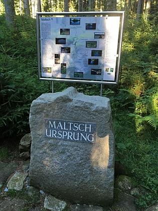 Pramen Malše u samoty Quas blízko Sandlu na hoře Viehberg, zmiňované v jeho textu