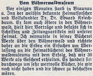 Zpráva o jeho úmrtí na stránkách krajanského měsíčníku s poznámkou Josefa Bürgera otom, že požádal dědice o knihy z Kriechbaumovy pozůstalosti pro Šumavské muzeum v Pasově