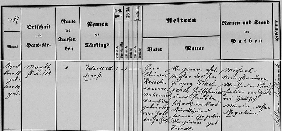 Záznam o jeho narození v křestní matrice farní obce Pregarten v Horním Rakousku